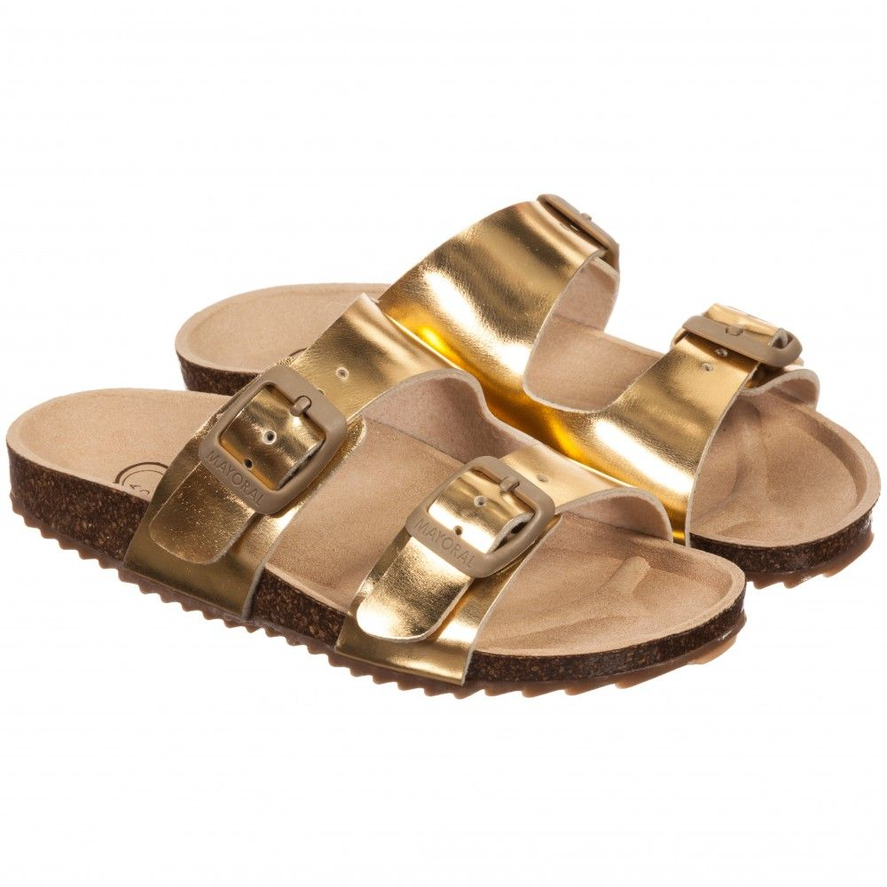 3651e17ff73 Mayoral Girls Metallic Gold Slip-On Sandals at Childrensalon.com ...