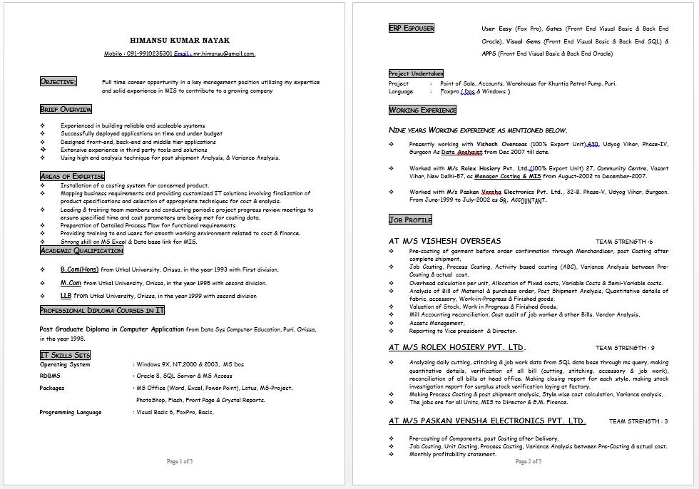 mis costing expert resume