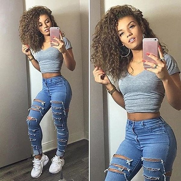 Women Fashion Hollow Elastic High Waist Skinny Sumemr Style Jeans Long Pants | Wish