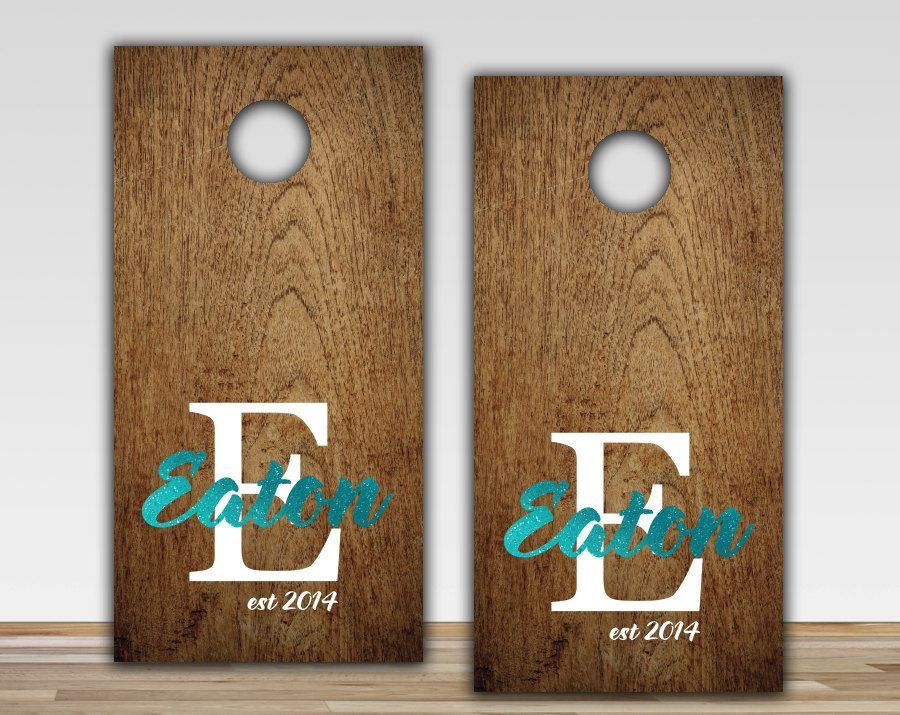 Custom Stained Personalized Cornhole Boards Set with Bags