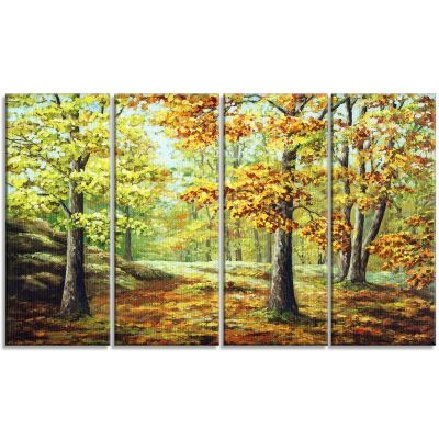 DesignArt Autumn Landscape 4 Piece Painting Print on Wrapped Canvas ...