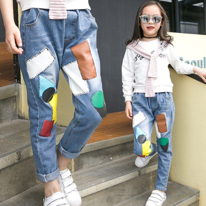Muchachas De Los Ninos De Moda Otono Patchwork Larga De Mezclilla Pantalones Vaqueros Para Los Adolescentes Girl Outfits Girls Spring Fashion Long Denim Pants