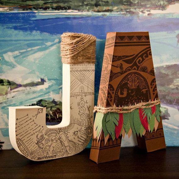 Moana paper mache letters decor party maui fish