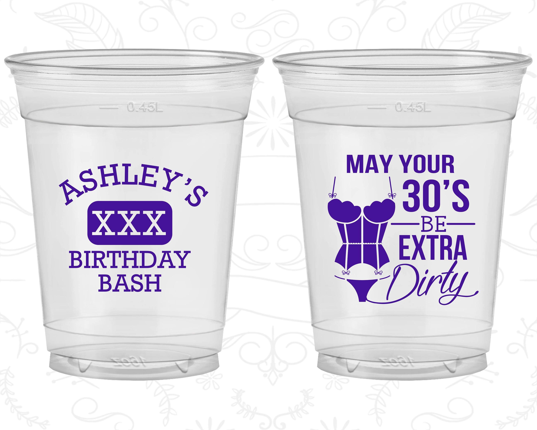 30th Birthday Soft Sided Cups 30 And Flirty Thirty And Flirty Disposable Birthday Cups 20192 Disposable Cups Design 30th Birthday