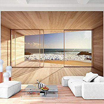 Fototapete Fenster zum Meer 352 x 250 cm - Vliestapete - Wandtapete - wandbilder für küche