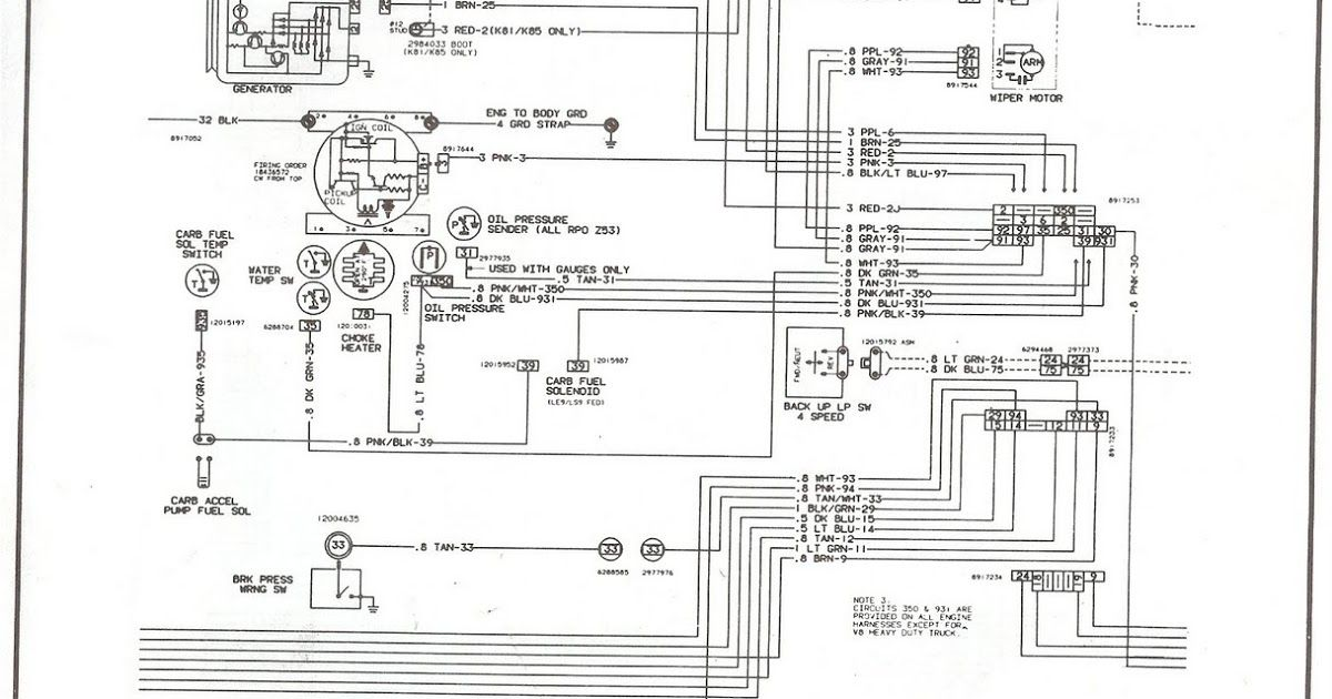 This Is Engine Compartment Wiring Diagram For 1981 Trough 1987 Chevrolet V8 Truck Click The Picture To Downl In 2020 Chevy 1500 Chevy Trucks Electrical Wiring Diagram