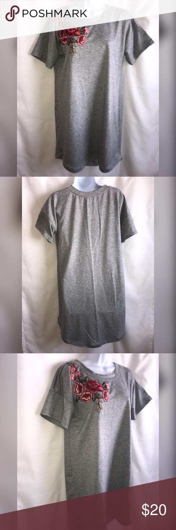 Gray tee shirt dress w floral design my posh closet pinterest