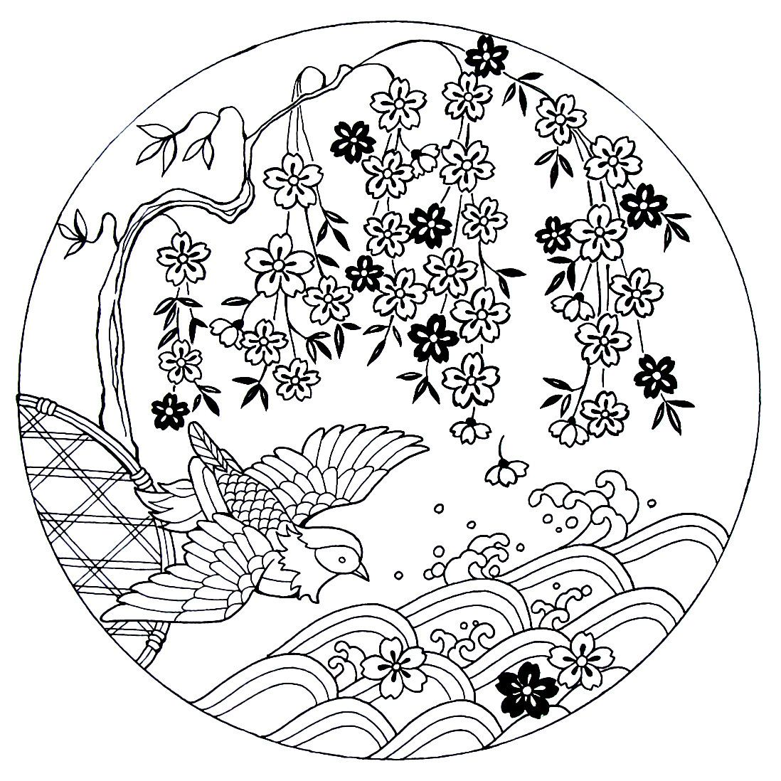 Cherry Blossoms With Bird Japanese Coloring Book Printable Page Risunki