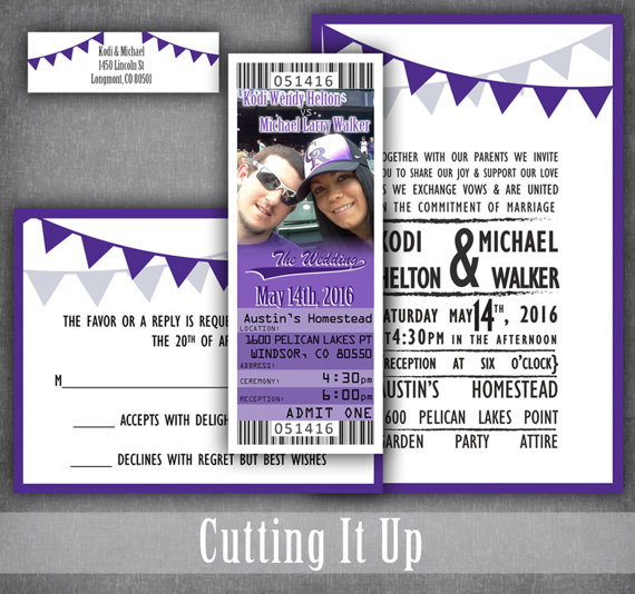 Baseball Wedding Invitations, Baseball Wedding, Ticket Invitation - invitation ticket