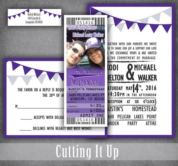 Baseball Wedding Invitation Tickets With Rsvp Card Softball Etsy Baseball Wedding Invitation Ticket Wedding Invitations Baseball Wedding