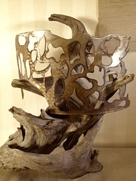 driftwood lamp with metal shade Creative Iron Designs