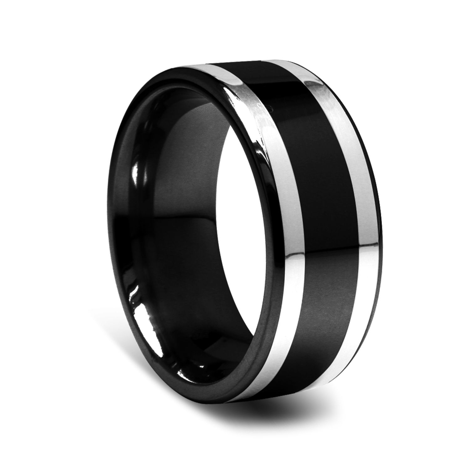 9mm black titanium mens ring with silver inlay a great for Black wedding ring men