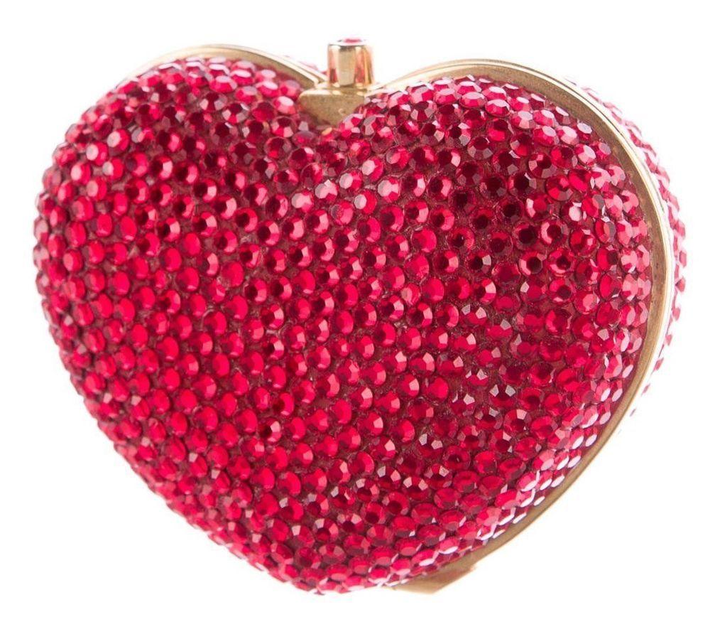 a27cc24f849c6 Judith Leiber HEART n Soul Gold Crystal PillBox Pill box Red Siam Vintage   JudithLeiberLieberCouture  PillBOX