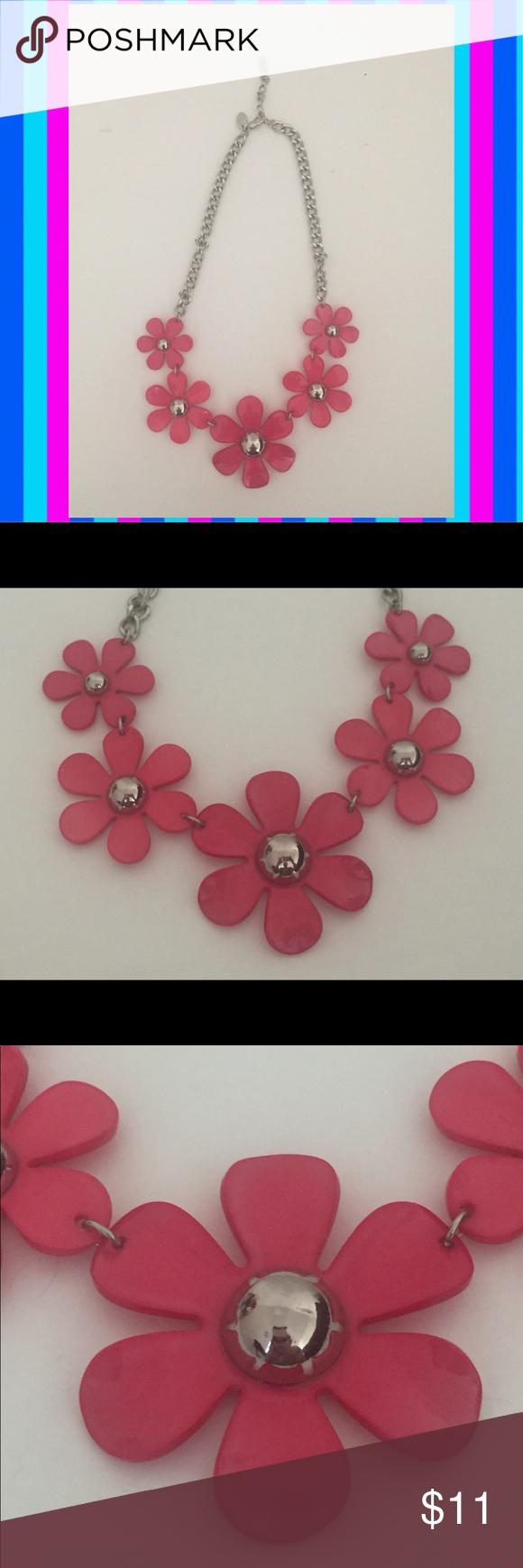 Charming Charlie Silver Fuchsia Flower Necklace Charming Charlie Jewelry Fuchsia Flower Fuchsia