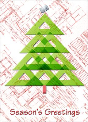 Triangle tree glossy white 667 triangles christmas tree and these architects greeting cards will draw new business and generate repeat business with its blueprint covered malvernweather Images
