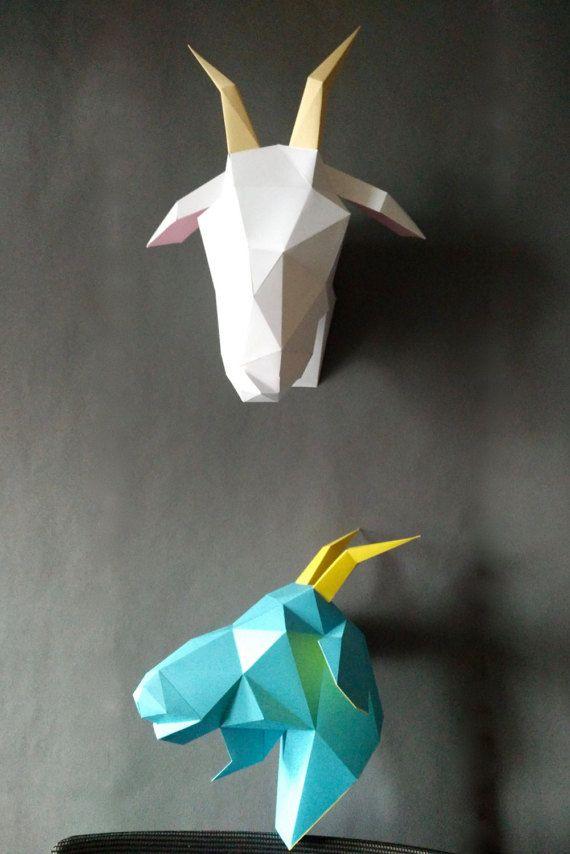 Ziege Diy Kit Papercraft Ziege 3d Vorlage Ziege Modell Ziege Etsy Paper Crafts Papercraft Templates Diy Kits