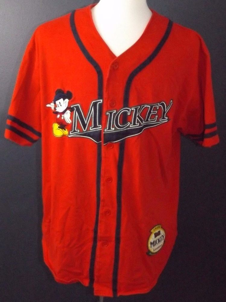 c12bc0344 Disney Mickey Mouse Embroidered Men s Red Button Front Baseball Jersey  Large…