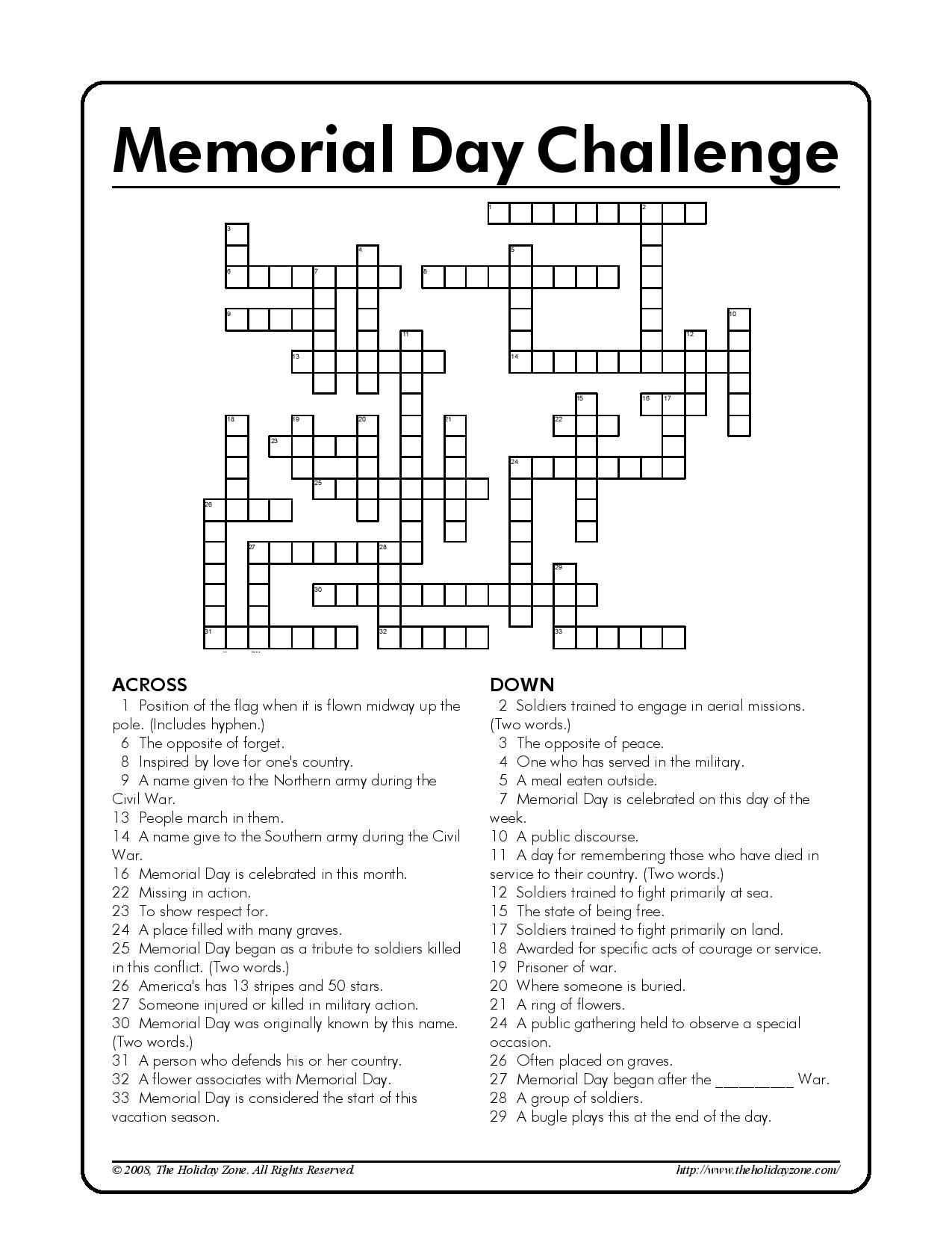 Memorial Day Kids Crossword Puzzle! [Courtesy of The Holiday Zone]