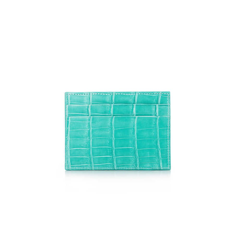 Flat card case in Tiffany Blue® crocodile. More colors available ...