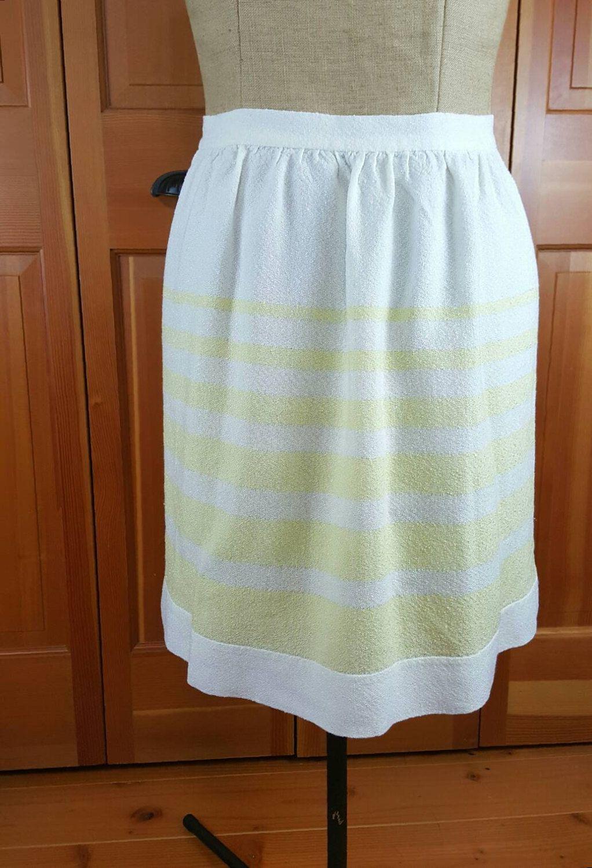 Vintage Apron, Hand Woven, White and Soft Yellow Horizontal Stripes, Half Apron…