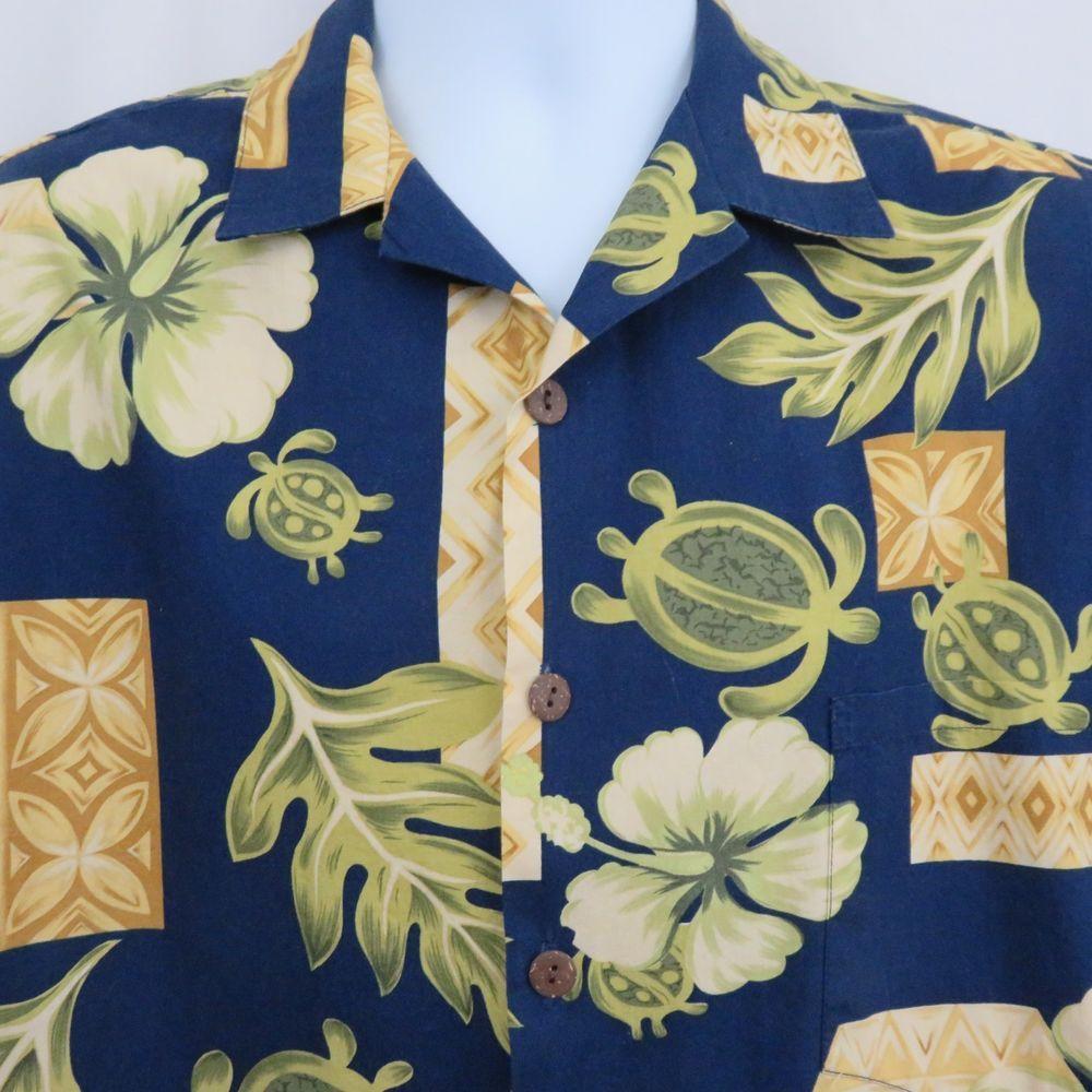 44f9d0d9 Hilo Hattie L Blue Gold Green Turtle Honu Floral Hawaiian Aloha Shirt  Cotton #HiloHattie #ButtonFront