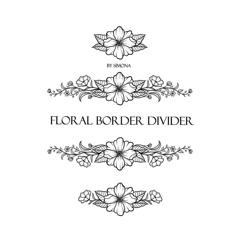 Flowers Floral Border Divider Pack Elements Hand Drawn Logo Etsy Floral Border Hand Drawn Logo How To Draw Hands