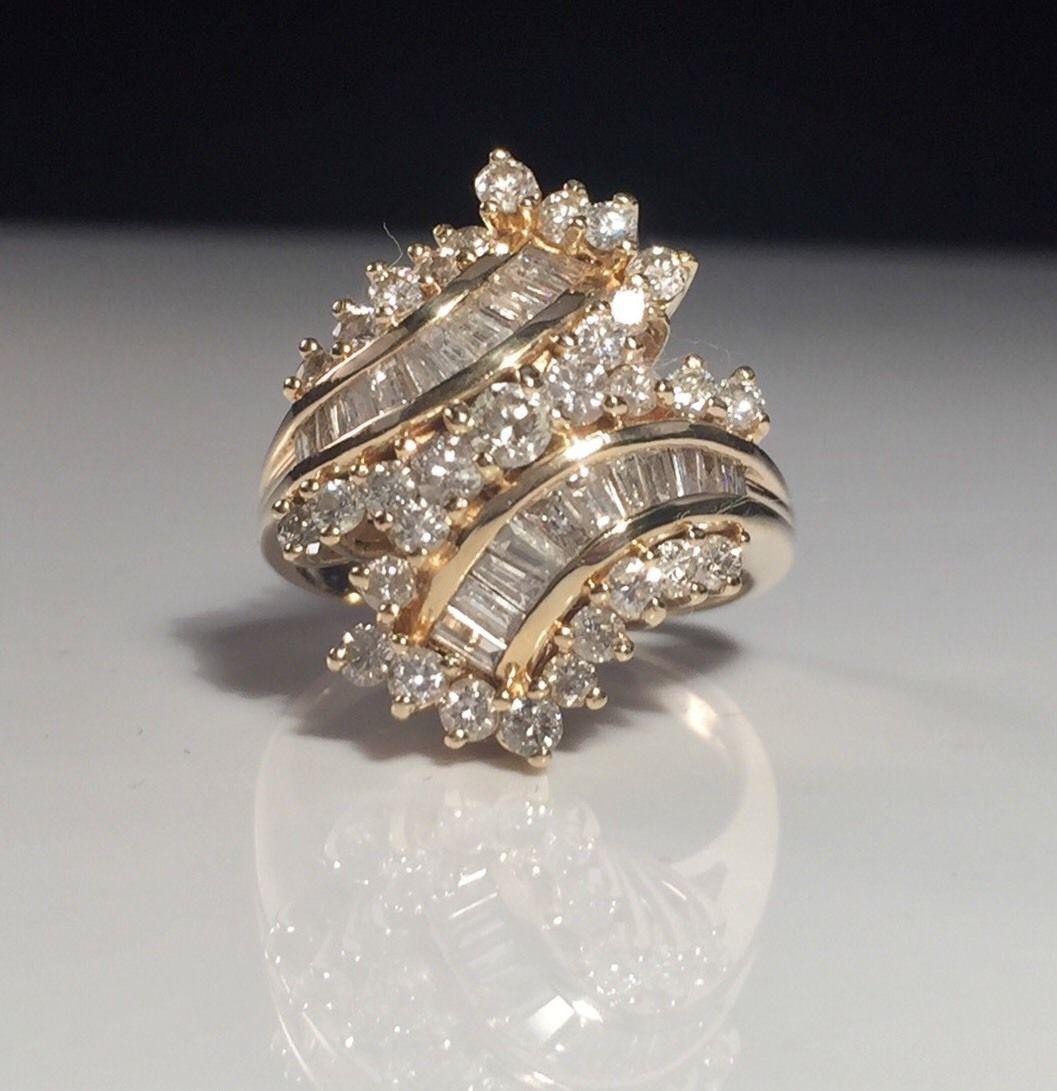 Fine Estate Large Diamond Cocktail Cluster 14k Yellow Gold Ring   eBay