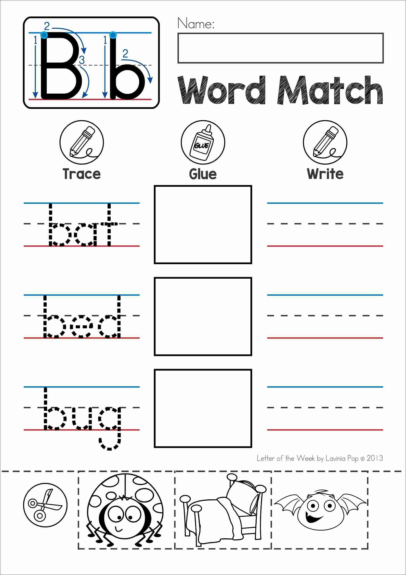 Letter B Phonics Worksheets : Free phonics letter of the week b word match cut and