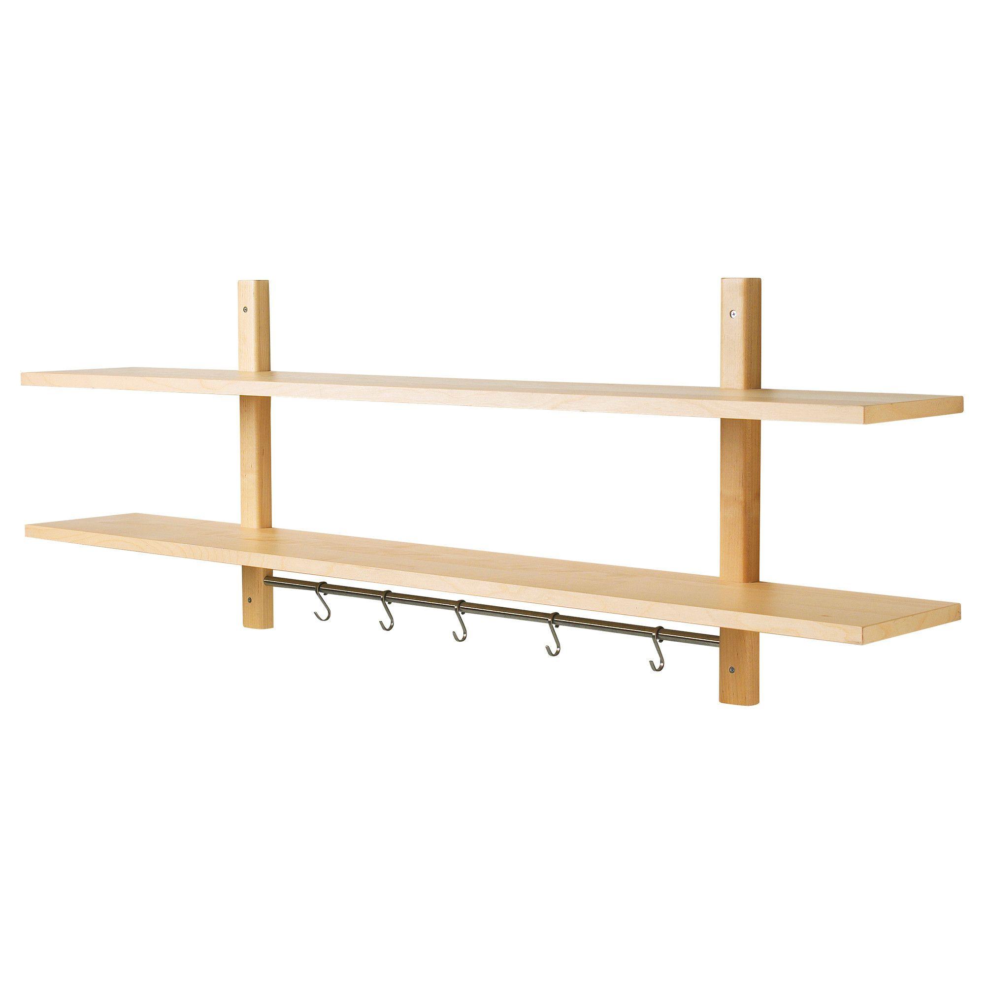 VÄRDE Wall shelf with 5 hooks Birch 140 x 50 cm | Pinterest | Värde ...