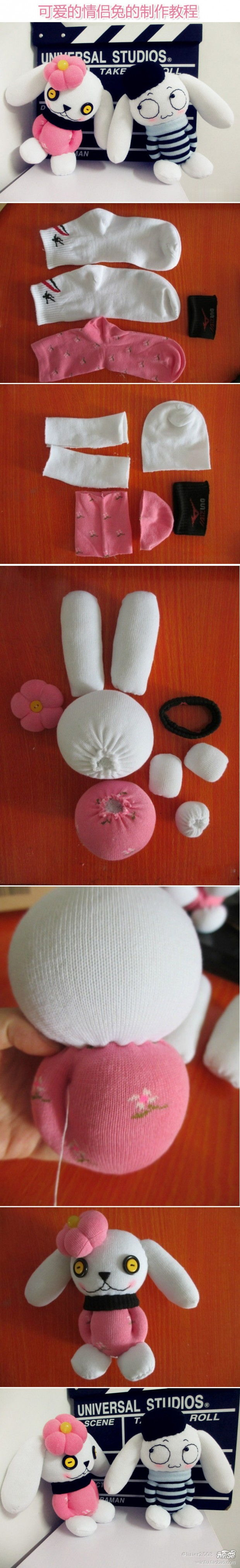 DIY Cute Sock Couple Rabbit Dolls DIY Projects