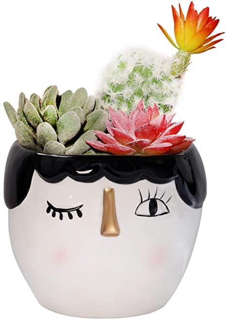 Amazon Com Kimdio Ceramic Flower Pot Vase Cute Female Head Design Elegant Decorative Cactus Planter In 2020 Ceramic Flower Pots Painted Flower Pots Flower Pot Crafts