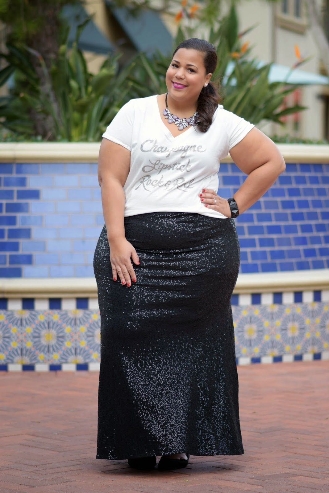 Plus Size Sequins Skirt, Plus Size Holiday Looks | deim overalls ...
