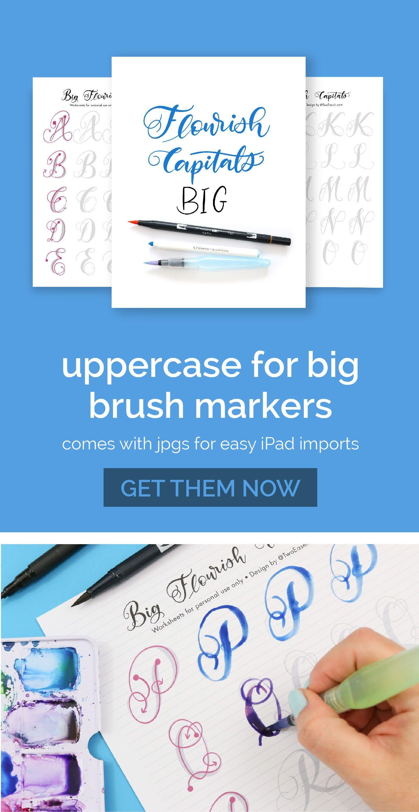 Big Brush Marker Flourish Capital Letters Alphabet Modern Etsy Hand Lettering Worksheet Hand Lettering Practice Lettering Alphabet [ 2777 x 1434 Pixel ]
