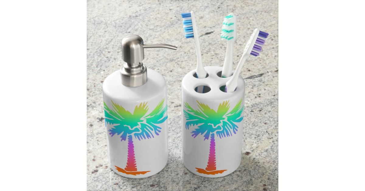 Neon Palm Tree Tropical Summer Bright Colorful Fun Bathroom Set