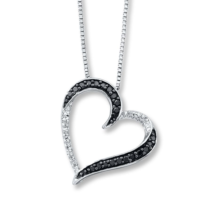 Kay diamond heart necklace 110 ct tw round cut sterling silver kay diamond heart necklace 110 ct tw round cut sterling silver mozeypictures Images