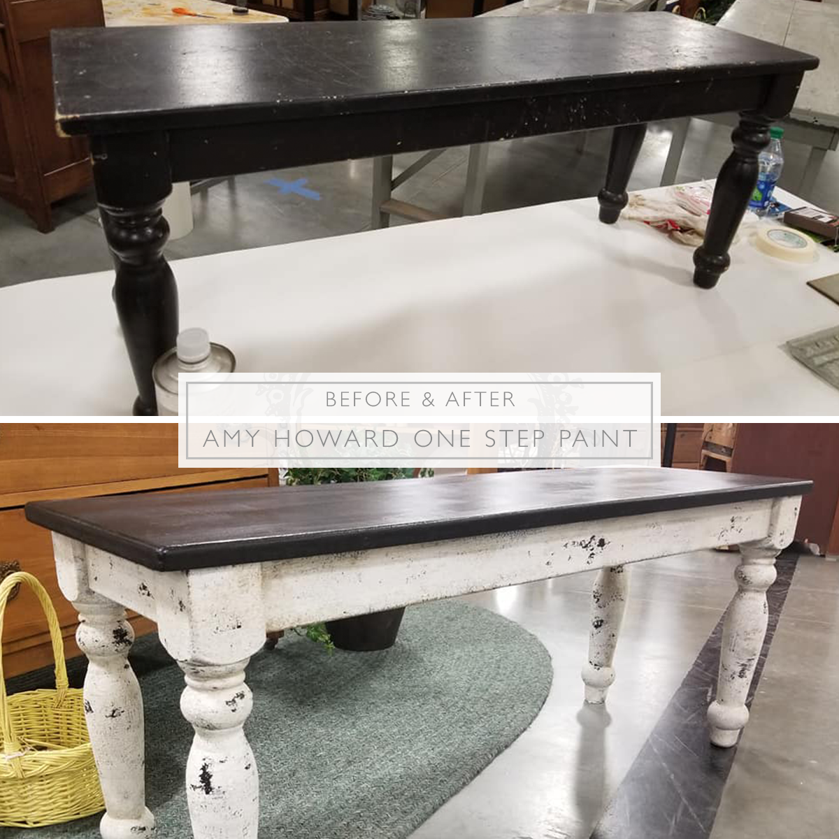 Get That Rustic Farmhouse Table Look Without Paying A Hefty Price Instead Use Amy Howard Rustic Farmhouse Table Painted Coffee Tables White Painted Furniture