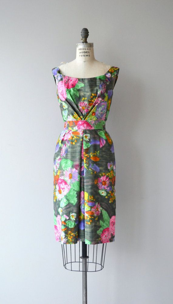 3ebbe4ad1ca Gorgeous vintage 1950s Ceil Chapman dress in soft brushed cotton with  bright watercolor floral print