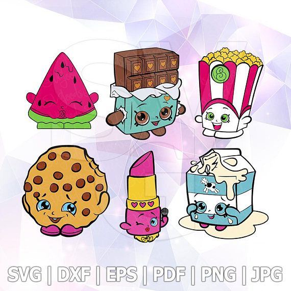 SVG Shopkins Layered Cut Files Cricut Design Silhouette Cameo Party Supply Decorations Melonie Pips Cheeky Chocolate