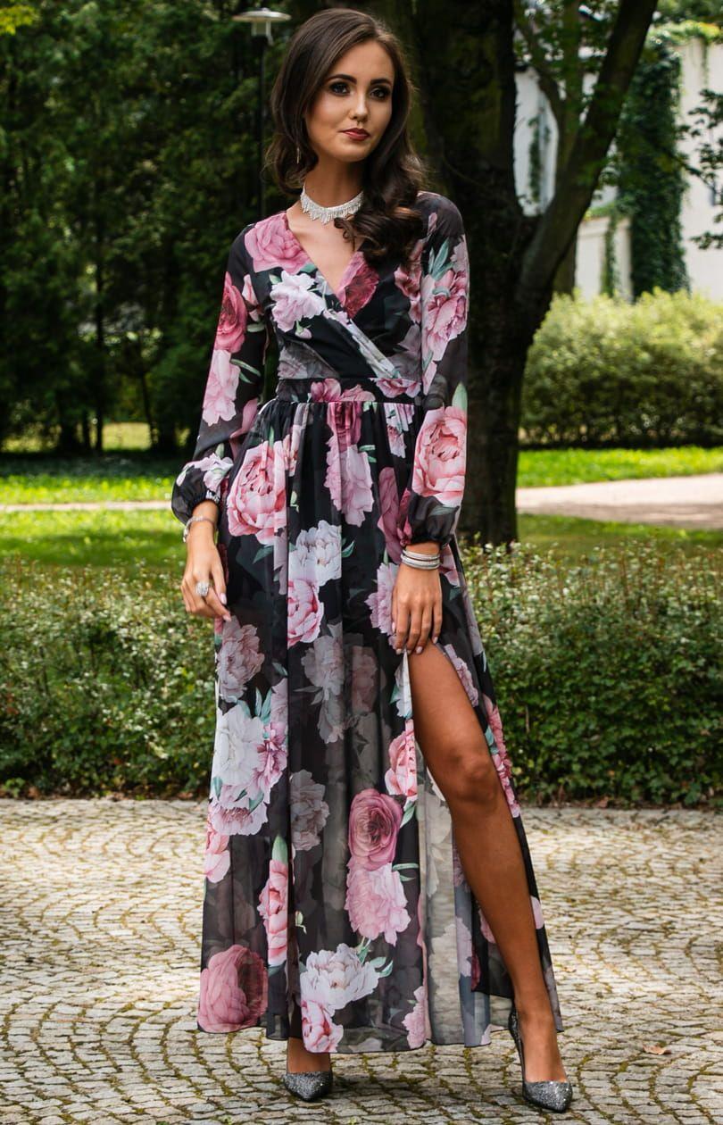 Dluga Sukienka W Kwiaty Roco 0219 D47 Dresses Fashion Wrap Dress