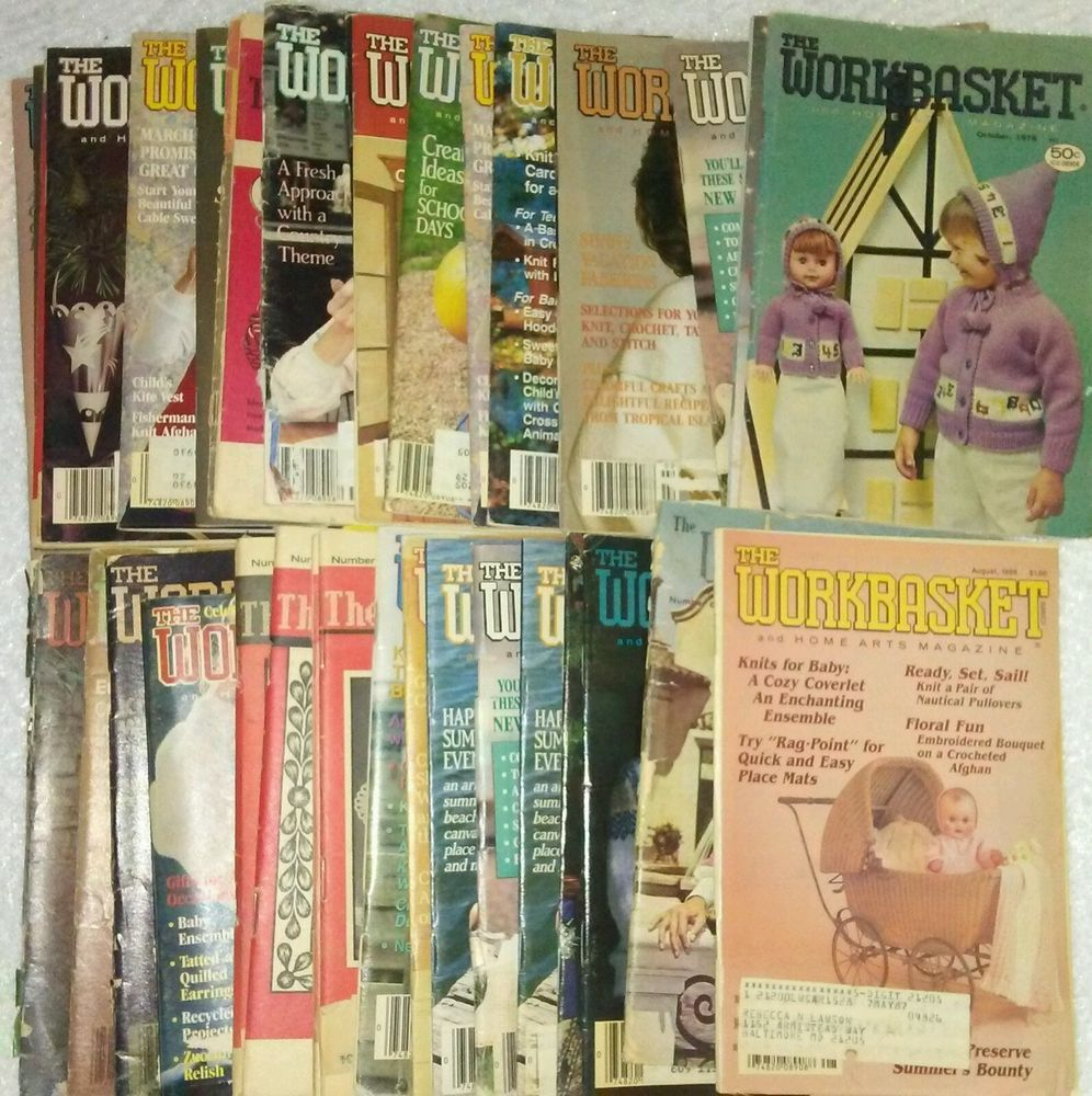 Lot of 35 vintage workbasket magazines 1960s 1970s 1980s 1990s lot of 35 vintage workbasket magazines crochet knit bankloansurffo Choice Image