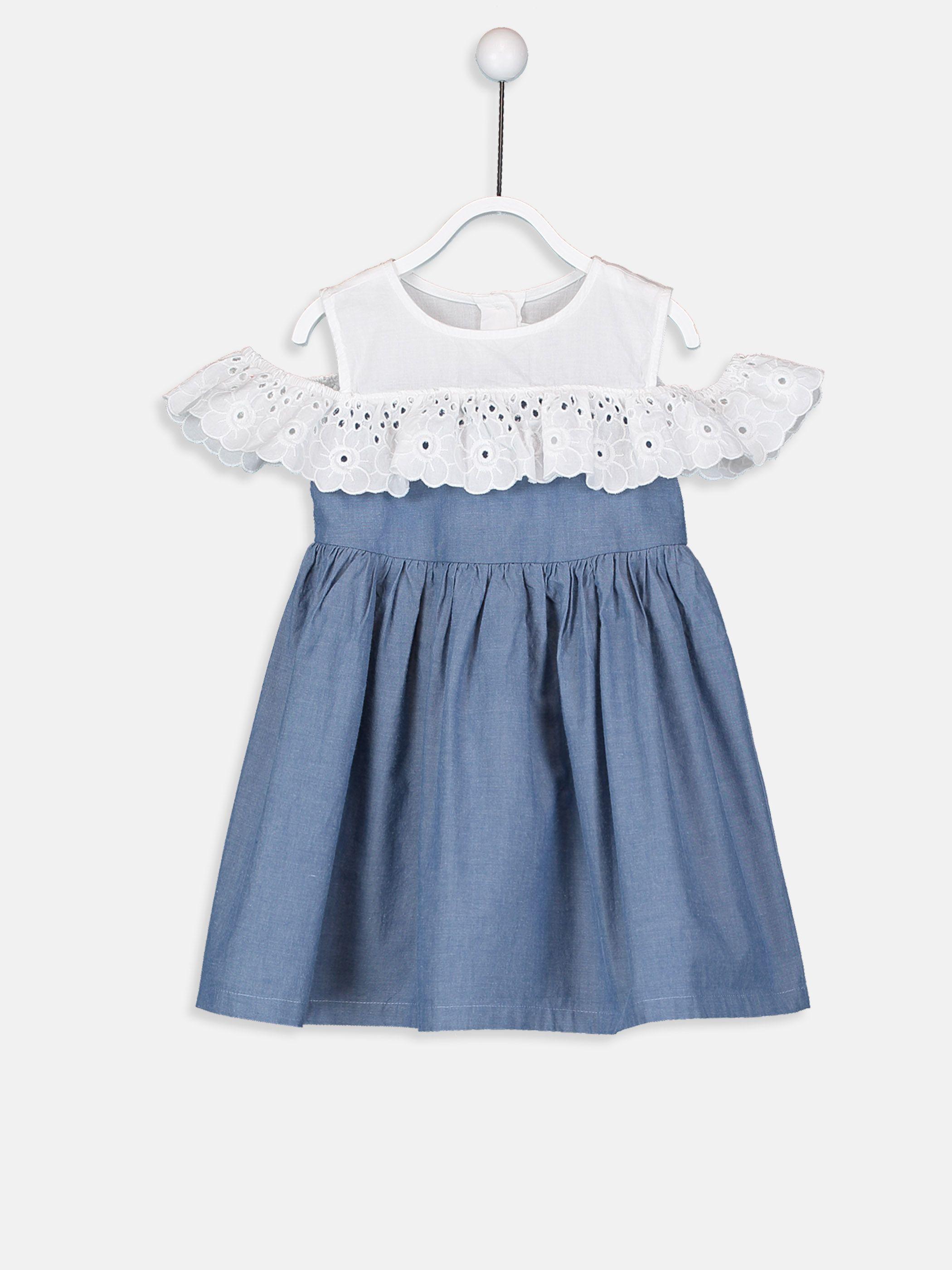 Kiz Bebek Sambre Elbise 9s4809z1 Cxt Lc Waikiki Asimetrik Elbise The Dress Kiyafet