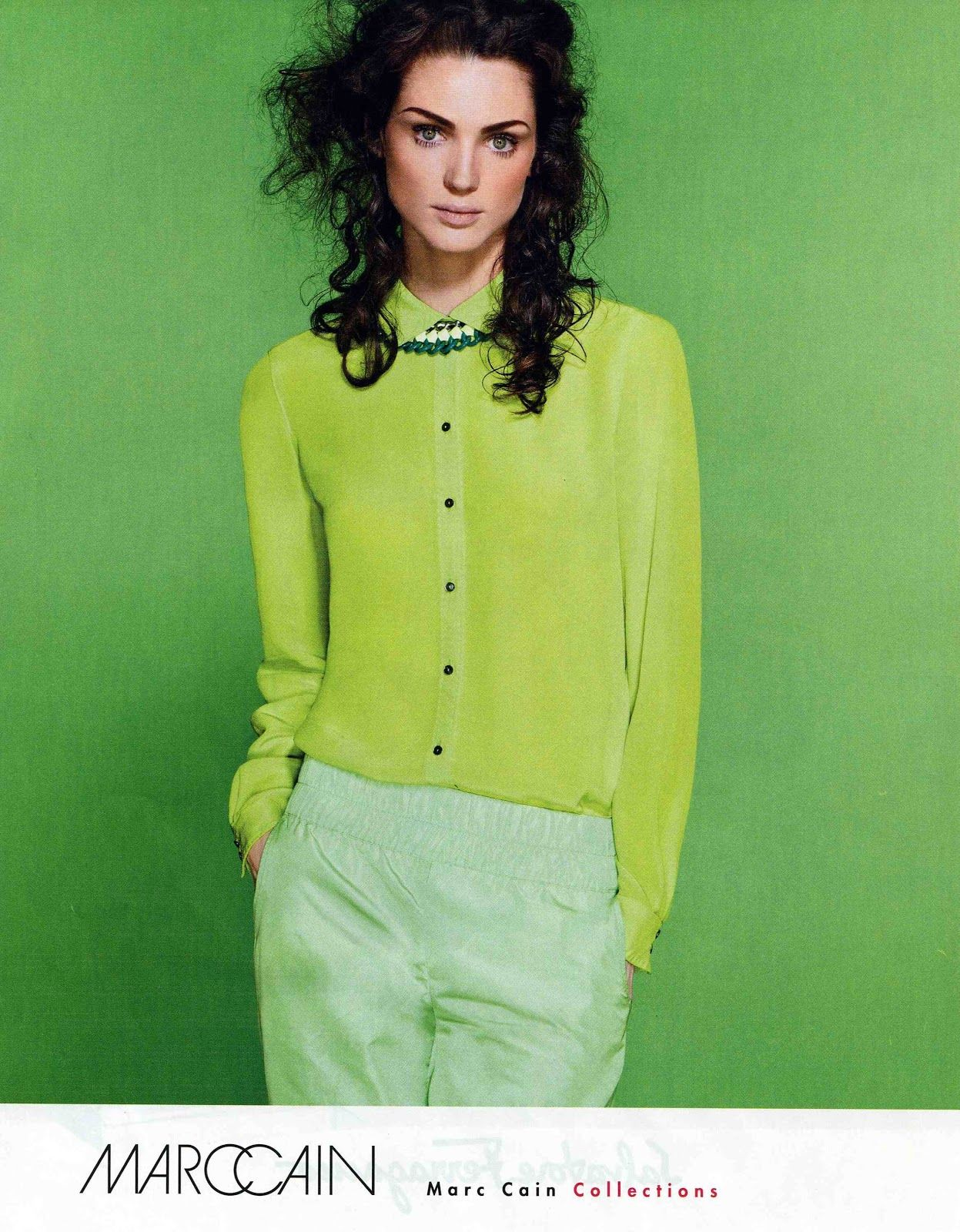 I love this but I know without the green background it would look awful, plus the trousers are a bit dodge but I do like the idea of wearing all the same colour in different shades.