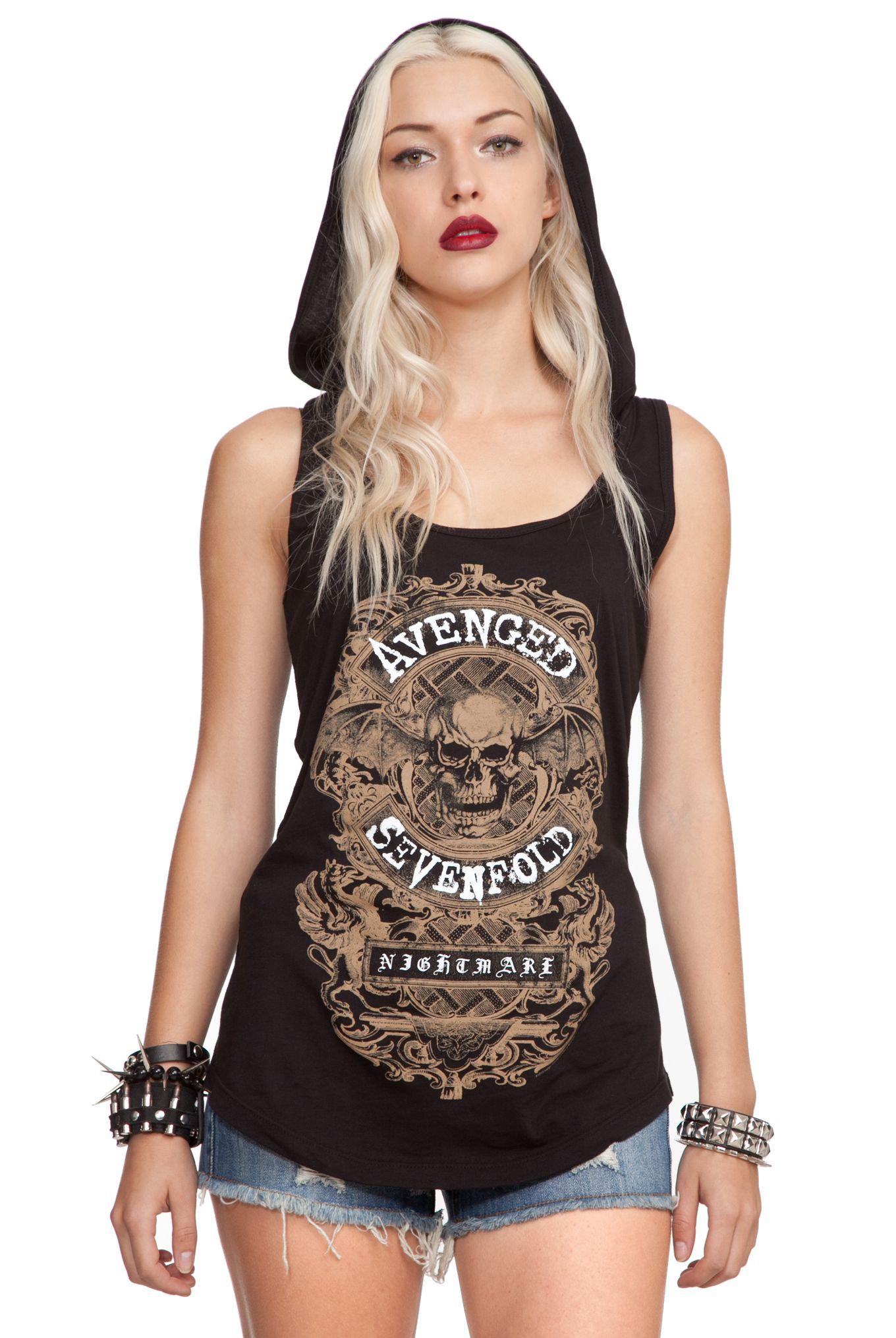 b2458f7e9e Avenged Sevenfold Nightmare Hooded Girls Tank Top