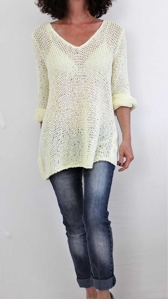 J Jill Cotton L Sleeve Vneck Loose Knit Tunic Sweater Pearl Yellow ...