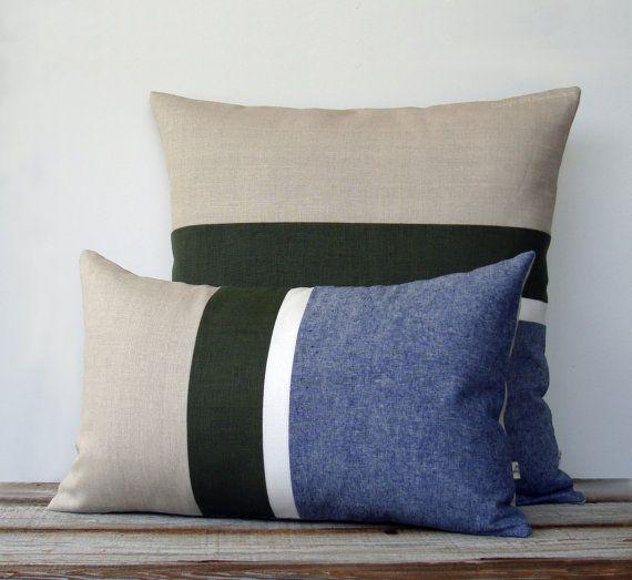 Denim Chambray Stripe Pillow Set Of 2 Modern Home Decor By