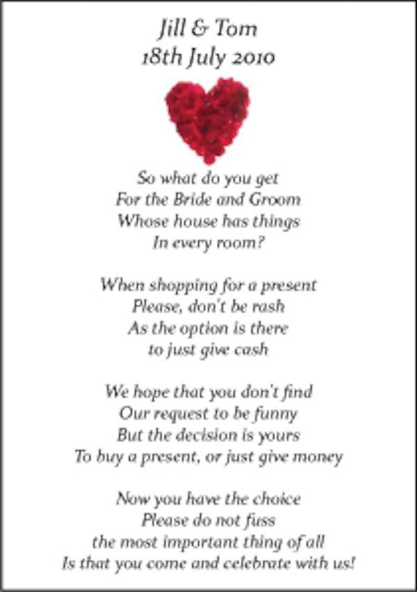 Wedding Money Poems x 75 many Designs Honeymoon, Wishing Well ...