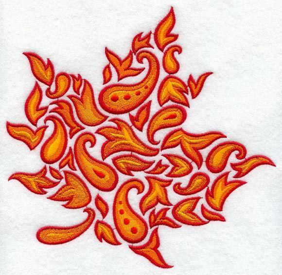 Autumn paisley maple leaf aa embroidery designs