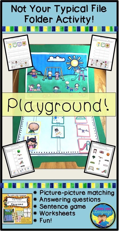 File Folder Games Adapted Books Sentence Building Playground Activities Activities Classroom Activities Autism Activities