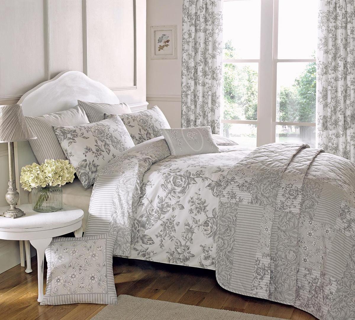 Malton Elegant Floral Design Duvet Cover Set In Slate Grey By Dreams N  Drapes   Double By Dreams U0027nu0027 Drapes