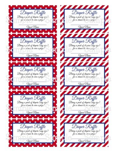 Printable Moustache Red \ Blue Baby Shower Diaper Raffle Tickets - raffle ticket template